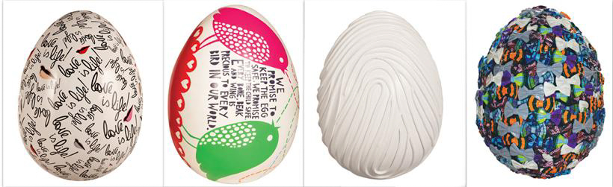 Eggs by Diane von Furstenberg, Rob Ryan, Marc Quinn, Tommy Hilfiger