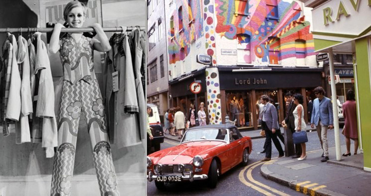 Carnaby Street in the Sixties: Twiggy by Philip Townsend and the shop Lord John (Credit: Top Foto)