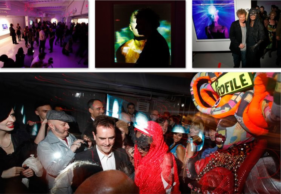 "The Launch Party of ""Stillness at the Speed of Light"" on Thursday 29 April. Above right: Chris Levine with Grace Jones (Photos: Daniel Herendi)"