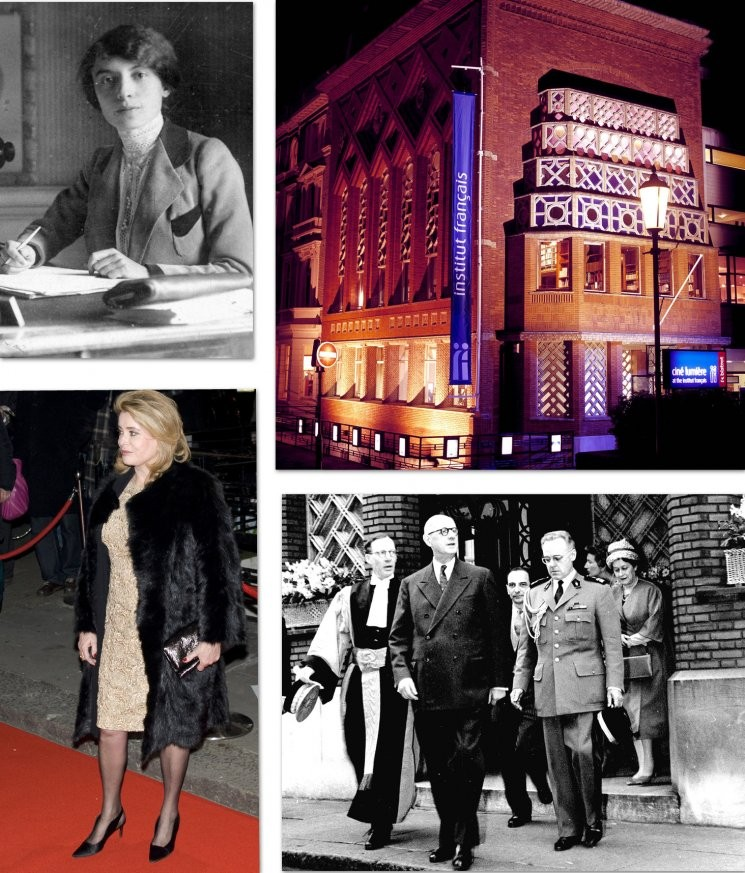 Founder Marie d'Orliac in 1920, General De Gaulle in 1960, the building today and Catherine Deneuve for the reopening of Ciné Lumière in 2008
