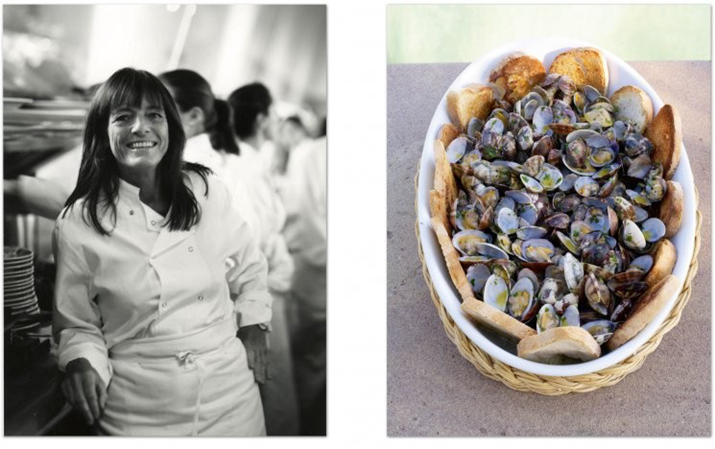 Ruth Rogers (Photo David Loftus) and Zuppa Alle Vongole (Photo from The River Café Classic Italian Cookbook, the latest cookbook by Ruth Rogers and Rose Gray, published by Michael Joseph (£30)