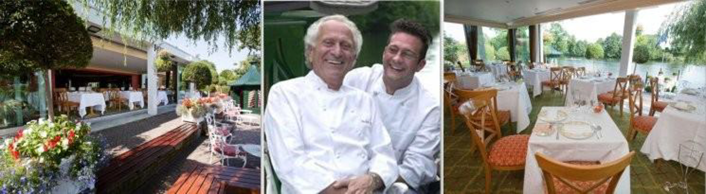 The terrace and main room at the Waterside Inn and Alain with his father, Michel Roux (Photos: Martin Brigdale)