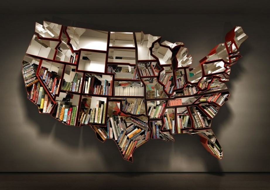 Oh, the farmer & the cowman should be friends, a shelving unit in the shape of the USA, currently shown at the MoMa